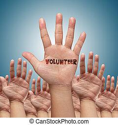 voluntario, grupo, levantar, manos