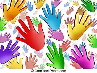 voluntario, manos