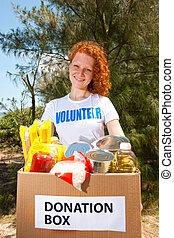 voluntario, proceso de llevar, alimento, caja donativo