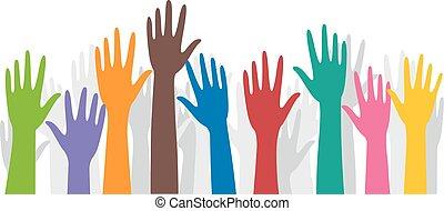 voluntarios, manos, aumento