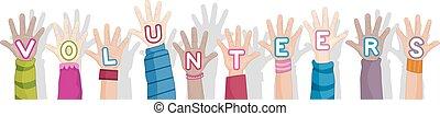 voluntarios, manos, texto