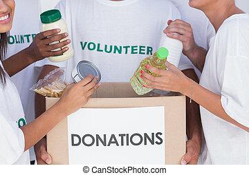 voluntarios, poniendo, alimento, en, caja donativo