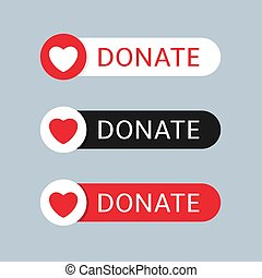 Donate button icon set