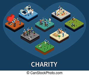 Volunteer and Charity Isometric Set
