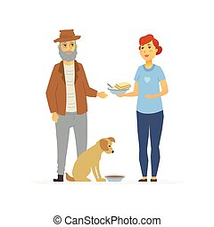 Volunteer bring food to homeless - cartoon people characters isolated illustration
