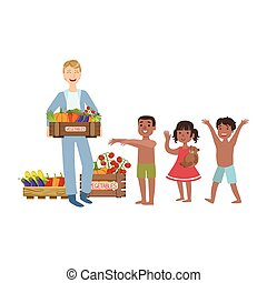 Volunteer Bringing The Food To Hungry Children Flat Illustration Isolated On White Background. Simplified Cartoon Character In Cute Childish Manner.