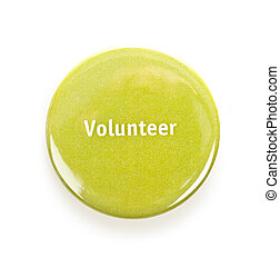 Green round volunteer button isolated on white