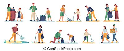 Volunteer collects trash. Men, women and children cleaning nature from garbage set. Isolated vector family picks up and sorting waste