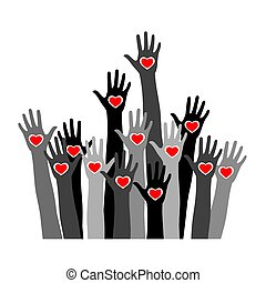 Volunteer concept with hands of different skin tones with heart in palms. Stock vector illustration for charity, humanity, race issues, teamwork, international friendship