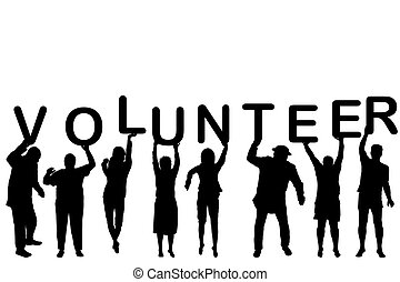 Volunteer concept with people silhouettes