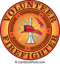 Fire department or volunteer firefighter design with firefighter tools symbol encircled by %u201CHonor, Courage, Valor, Dedication and Service%u201D motto or slogan.