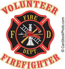 Volunteer Firefighter With Maltese