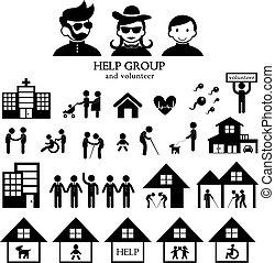 volunteer for non profit social service symbol