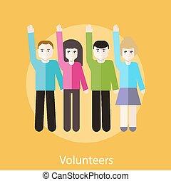 Volunteer Group Raising Hands - Volunteer group raising...