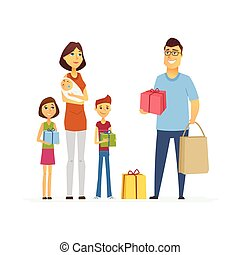 Volunteer help mother with children - cartoon people characters isolated illustration