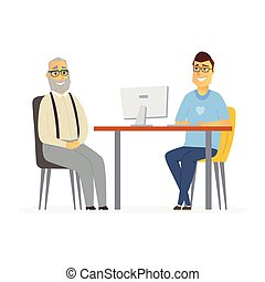 Volunteer help senior man - cartoon people characters isolated illustration