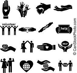 volunteer helping vector icons set in black.