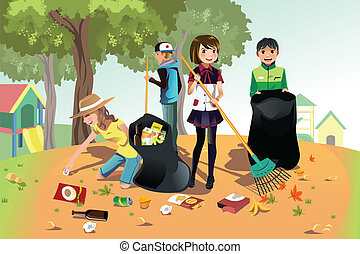 Volunteer kids - A vector illustration of kids volunteering...