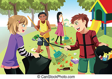 Volunteer kids - A vector illustration of kids volunteering ...
