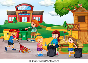 Volunteer kids collecting trash at school