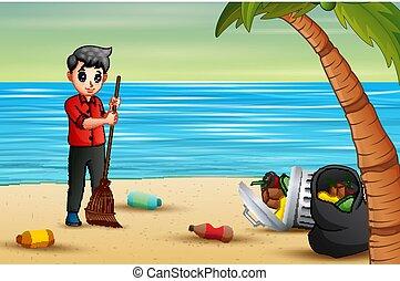 Volunteer man sweeping trash on the beach