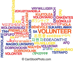 Volunteer multilanguage wordcloud background concept