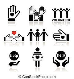 Volunteer, people helping icons - Vector icons set - ...