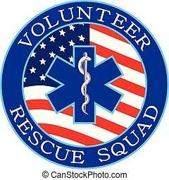 Volunteer Rescue Squad Design With Flag