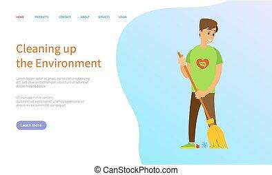 Volunteer Scavenging, Man Sweeping Trash Vector