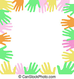volunteer sign -  colorful hands frame around a blank center