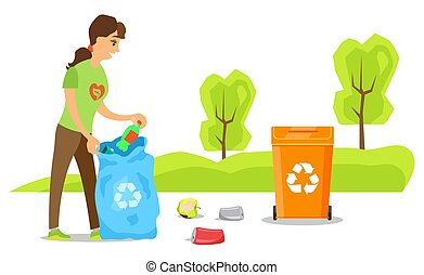Woman volunteer cleaning trash, plastic and organic litter, activist putting bottle in bag, environmental caring, female worker sorting garbage vector