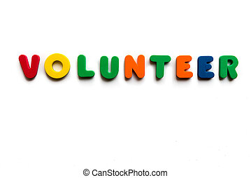 volunteer colorful word on the white background