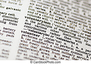 Volunteer - The word volunteer written in a thesaurus