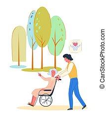 Volunteer walking with elderly disabled woman.