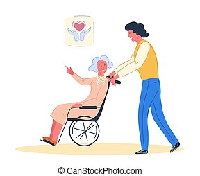 Volunteer with elderly disabled woman, vector.