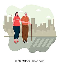 volunteer woman with old man helping cross the street, charity and social care donation concept