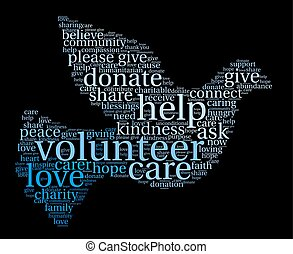 Volunteer Word Cloud - Volunteer word cloud on a black...