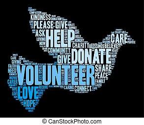 Volunteer Word Cloud - Volunteer word cloud on a black ...
