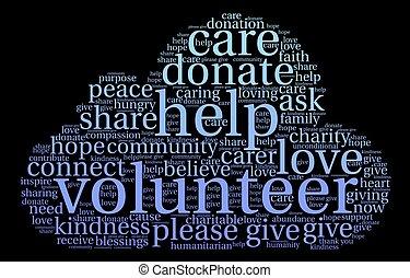 Volunteer Word Cloud - Volunteer word cloud on a black...