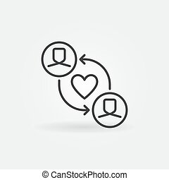 Volunteer Work or Charity outline vector concept icon