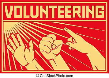 volunteering concept design (poster) vector illustration