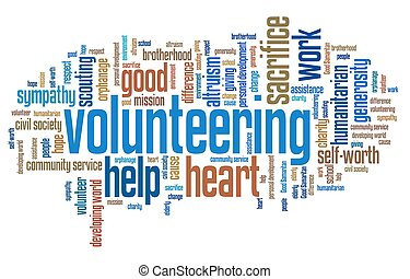 Volunteering issues and concepts word cloud illustration. ...