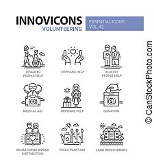 Volunteering - modern vector line design icons set. Disabled...