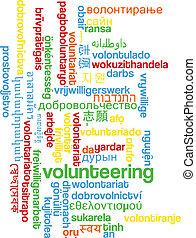 Volunteering multilanguage wordcloud background concept