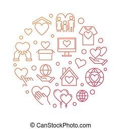 Volunteering round vector modern outline illustration