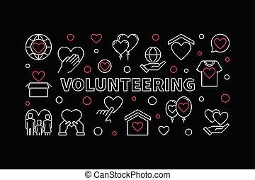 Volunteering vector concept horizontal linear illustration