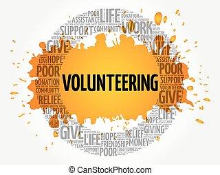 Volunteering word cloud collage