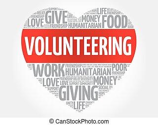 Volunteering word cloud, heart concept
