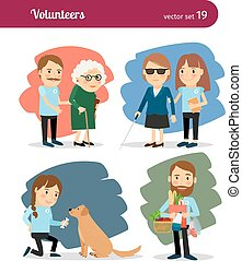 Volunteers care for the elderly and disabled. Vector...