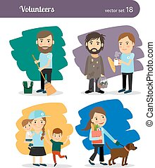 Volunteers characters - Volunteers help the homeless, old...